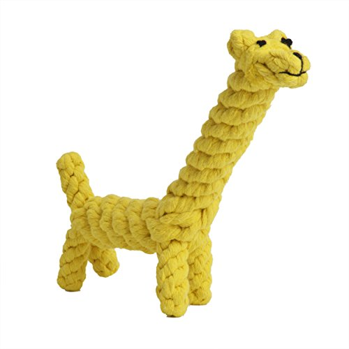 EXPAWLORER Cotton Dental Teaser Puppy Pet Chew Rope Toys for Large Small Dog Biting 8-inch,Giraffe (Busy Keep Them)