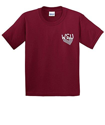 NCAA Washington State Cougars Youth Patterned Heart Short Sleeve Cotton T-Shirt, Medium,Cardinal