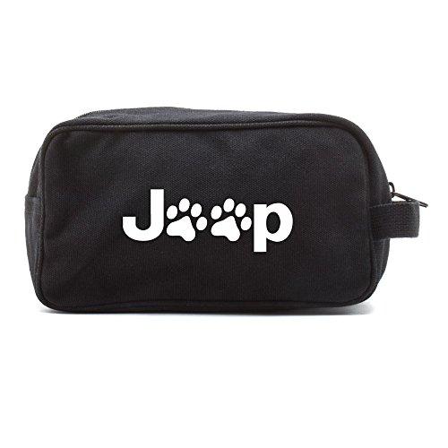 Dog Paws White Case - Jeep Wrangler Cat Dog Paw Prints Canvas Shower Kit Travel Toiletry Bag Case in Black & White