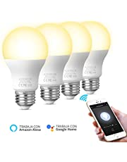 Bombilla inteligente Bombillas LED WiFi Compatible con Amazon Alexa Echo Google home y IFTTT E27 9W Equivalente 60W No se requiere hub Luz Blanca Cálida regulable 2700K 806LM AISIRER