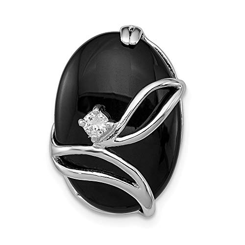 (Jewelry Pendants & Charms Slides Sterling Silver Rhodium Plated Onyx and CZ Slide)