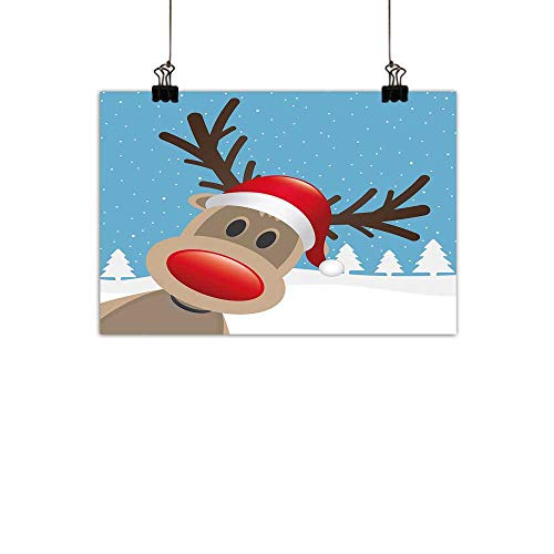 duommhome Christmas Chinese Classical Oil paintingReindeer Rudolph with Red Nose and Santa Claus Hat Snowy Forest for Living Room Bedroom Hallway OfficeLight Blue Red Light Brown -