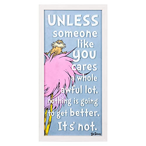 Patton Wall Decor Dr. Seuss The Lorax Someone Like You 10x20 Print On Glass Framed Wall Art, Blue]()