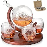 Etched World Decanter whiskey Globe - The Wine Savant Whiskey Gift Set Globe Decanter with Antique Ship, Whiskey Stones and 4 World Map Glasses, Great Gift - Alcohol Related Gift, HOME BAR DECOR