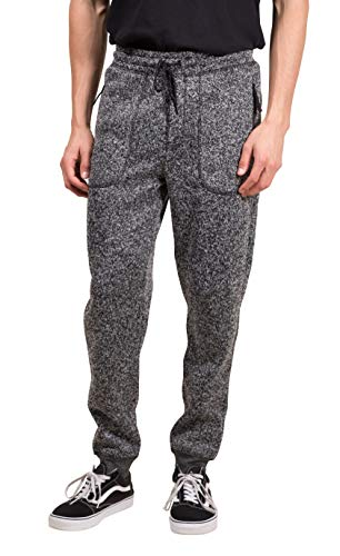 Brooklyn Surf Men's Fleece Jogger Pants Cozy Knit Zipper Pocket Sweatpants