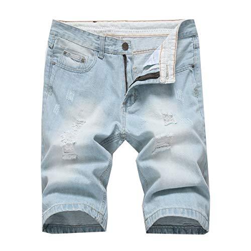 (HEFASDM Men's Denim Skinny Fit Stonewashed Summer Bermuda Shorts Jeans 5 37)