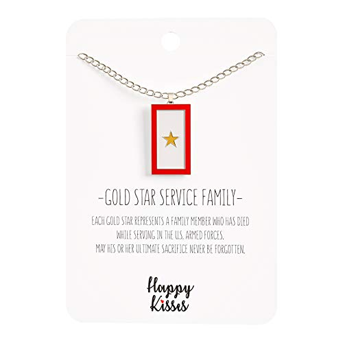- Happy Kisses Gold Star Service Flag Necklace - Gold Star Mom Pendant- One Star - Message Card (One Gold Star)