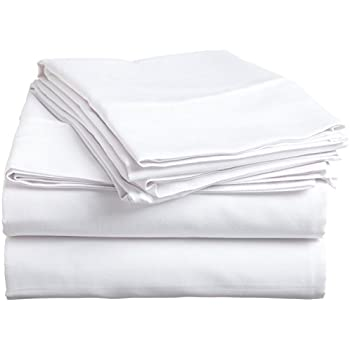 "#1 Bed Sheet Set - HIGHEST QUALITY 100% Egyptian Cotton 800 Thread-Count Queen Size Wrinkle, Fade, Stain Resistant - 4 Piece (Solid White) 16"" Drop -By""Rajlinen"""