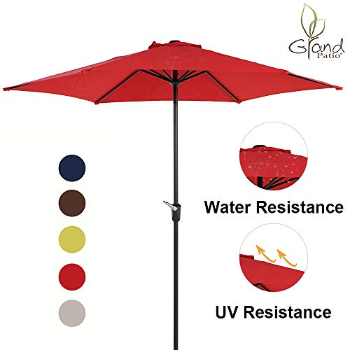 Grand Patio 9 FT Aluminum Patio Umbrella, UV Protected Outdoor Umbrella with Easy Crank, Red
