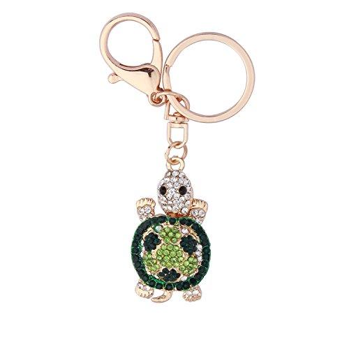 RQIER Turtle Keychain Cute Turtle Shape Crystal Rhinestone Keychain Women Handbag Charm (green)
