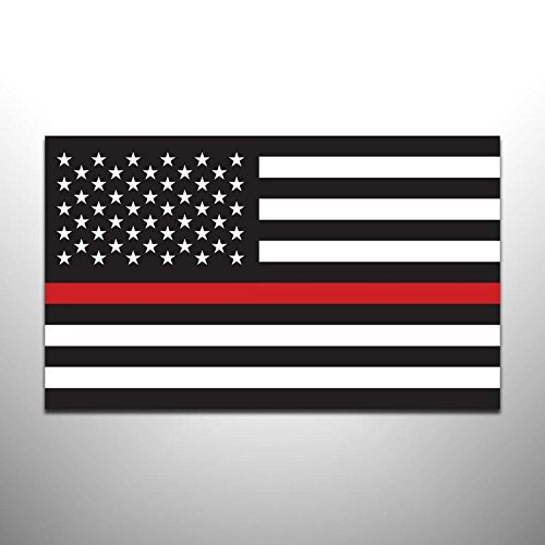 (JMM Industries Thin Red Line Flag Vinyl Decal Sticker Firefighter Law Enforcement Military Support 2 Pack 5-Inches by 3-Inches Premium Quality UV Resistant Laminate PDS889)