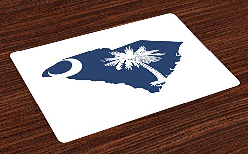 Lunarable South Carolina Place Mats Set of 4, Palmetto State Flag and Map Sabal Palm Tree and Crescent, Washable Fabric Placemats for Dining Room Kitchen Table Decor, Cobalt Blue and White