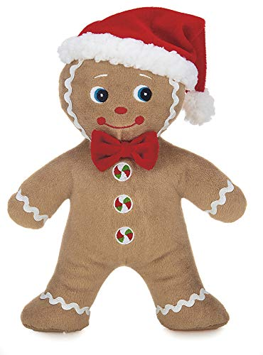 - Bearington Jolly Ginger Holiday Plush Stuffed Animal Gingerbread Man with Santa Hat, 10 inches