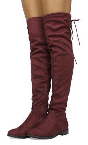 DREAM PAIRS Women's Uplace Burgundy Suede Over The Knee Thigh High Winter Boots Size 8.5 M US