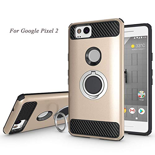 Newseego Compatible Google Pixel 2 Case with Armor Dual Layer 2 in 1 with Extreme Heavy Duty Protection and Finger Ring Holder Kickstand Fit Magnetic Car Mount for Google Pixel 2-Golden