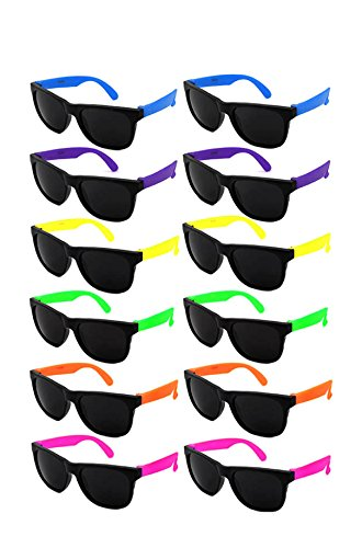 Edge I-Wear 12 Pack Fun Party Sunglass Neon Sunglasses for Kid Party Favors 80's style glasses Wholesale 9402RA/SET-12
