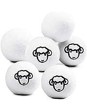 Sweetone Drogerballen van wol, 6 drogerballen voor de wasdroger, natuurlijke wasverzachter van 100% schapenwol, voor wasdroger met olie met parfum, ballen van 100% wol voor gebruik in de droger