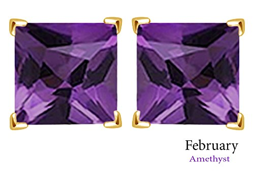 (3mm Princess Cut Simulated Amethyst Stud Earrings in 14k Yellow Gold Over Sterling Silver)