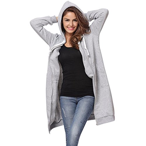 MIRRAY Womens Ladies Coats Autumn Winter Solid Warm Full Zipper Outerwear Casual Drawstring Hooded Hoodies Large Size Loose Jackets Long Overcoat with Pockets Grey