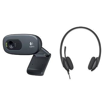 Pack Logitech Webcam HD C270 Vid/éo 720p Microphone Int/égr/é et Logitech PC 960 Casque PC USB Noir