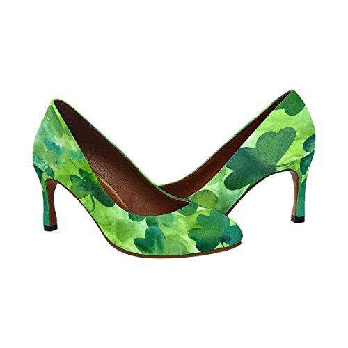 Interestprint Kvinnor Klassiskt Mode Hög Klack Klänning Pumphandritad Akvarell Shamrocks På Grön Bakgrund