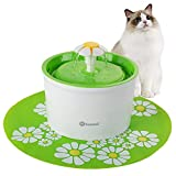 Hommii Pet Drinking Water Fountain - 1.6 Liters with Super Quiet Pump and Replaceable Filter - Automatic Electric Water Dispenser for Cats and Dogs - Color Green with Mat