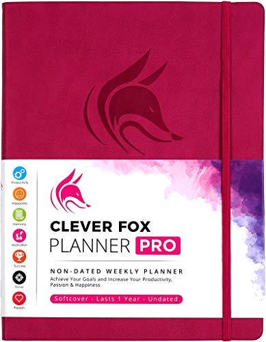 "Clever Fox Planner PRO - 8.5 x 11"" A4 Size Weekly & Monthly Life Planner and Gratitude Journal to Increase Productivity, Time Management and Hit Your Goals - Undated - Lasts 1 Year (Dark Pink)"