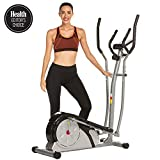 ANCHEER Elliptical Machine, Elliptical Exercise Training Machine for Home Use with Pulse Rate Grips and LCD Monitor