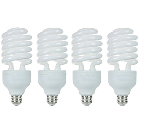 - Pack of 4 CFL 42 Watt High Wattage T4 Spiral, Medium Base, Daylight White