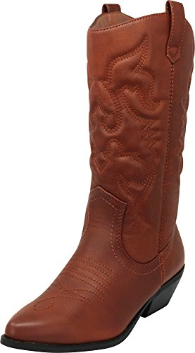 (Cambridge Select Women's Western Pointed Toe Mid-Calf Cowboy Boot,8.5,Dark Tan Vachette Pu )