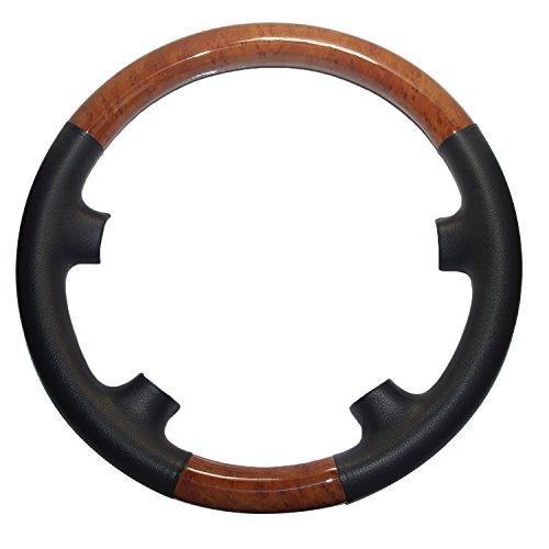 Pursuestar Black Leather Light Brown Wood Steering Wheel Protector Cover Cap for Mercedes Benz 2002-2006 W211 S211 E Class E200 E270 E300 E320 E400 E500 E55 AMG