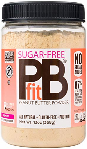 - PBfit All-Natural Peanut Butter Powder, Sugar-Free Powdered Peanut Spread from Real Roasted Pressed Peanuts, 8g of Protein (13 oz.)