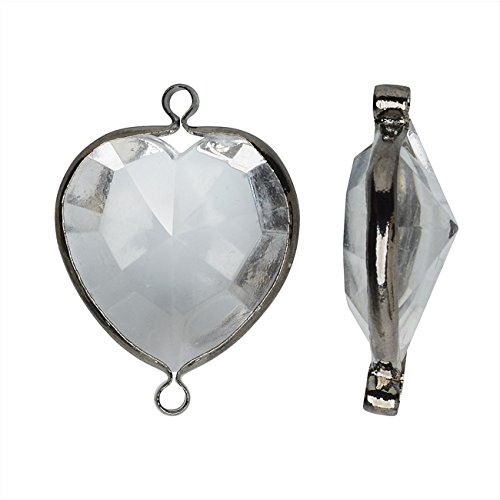 Vintage Lucite Links, Faceted Heart Briolette 16x17mm, 1 Piece, Gun Metal and - Briolette Heart