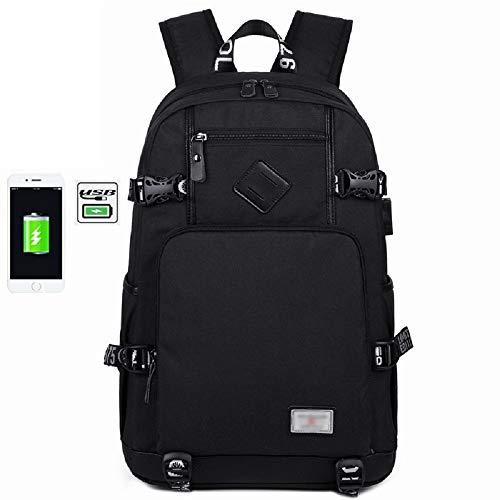 Impermeabile cm Canvas nero Backpack Laptop per Contact Usb Travel Nero Studente Per E Wjp Outdoor Abbigliamento Borsa Charge Uomo Donna ZUAgaqxwCa
