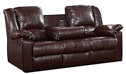 Loveseats Reclining Sofa With Drop Down Cup Holder 2 Seat Office Furniture  Or Patio Couch