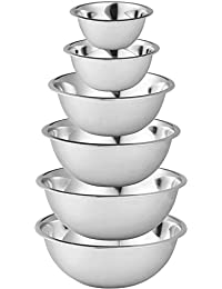 Buy Stainless Steel Mixing Bowls by Finedine (Set of 6) Polished Mirror Finish Nesting Bowls ¾, 1.5,3,4,5 and 8 Quart... discount