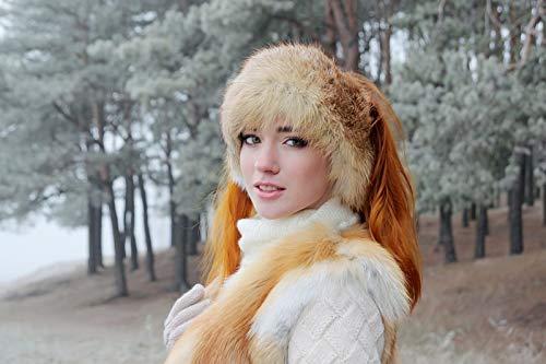(Woman's Real Fox Fur Headband Winter Hat (Red) )