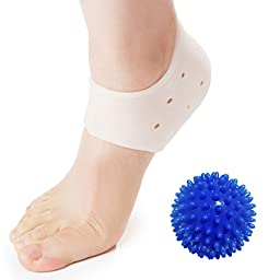 DR JK- Plantar Fasciitis, Heel Pads PedPal Kit- 1 pair Plantar Fasciitis Sleeve with a Massage Ball, Foot Arch Support, Foot massager, Heel Grips, Ankle Support, Relieve Foot Pain and Metatarsal Pain