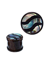 Chic Net Wood Plug Sonoholz Resin paua Abalone Waves Shimmering Tunnel Tribal Expander