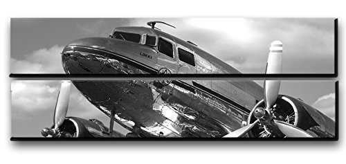 ne Wall Art Decor / Vintage Aircraft Picture On Canvas Panels / Aviation Wall Art Painting DC-3 Dakota Poster Print 22x67 inches ()