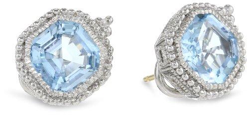 Judith Ripka Estate Asscher Blue Topaz Stud (Judith Ripka Bezel Earrings)