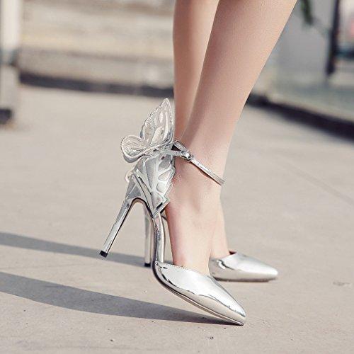 ALUK- Scarpe da donna - Moda europea e americana   tacchi alti   ali di  farfalla scarpe a punta   sandali sexy ( Colore   Silver  57dfe1e8e0a