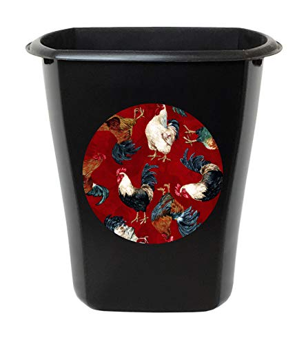 3 Gallon Black Plastic Wastebasket Trash Can Featuring Your Choice of an Animal Themed Vinyl Decal - Free Trash Bag Included (Red Roosters)