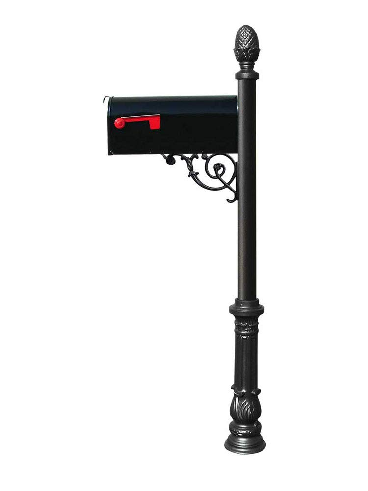 Ornate Base and Pineapple Finial Qualarc LPST-703-E1-BL Lewiston Aluminum Post Mailbox System with Support Brace Mounting Plate Black Economy Mailbox