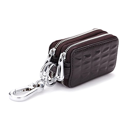 Wismart Genuine Leather Car key Chain bag, Double Layer Smart Key Chain Coin Holder Metal Hook Zipper Remote Wallet Bag-Brown