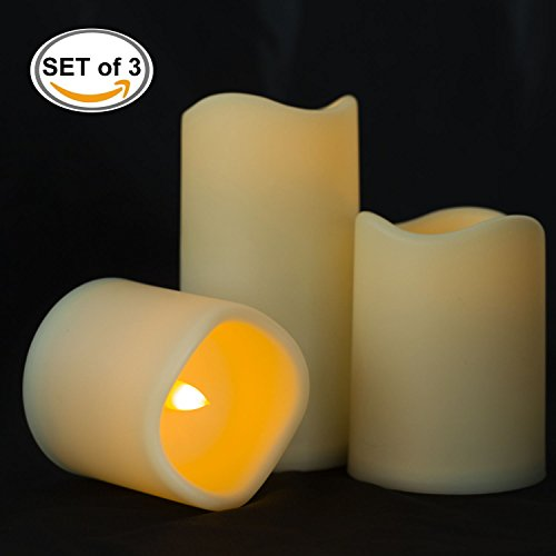 """BEICHI Outdoor Flameless Ivory Pillar Candles, Battery Operated Flickering LED Candles, Unscented Electric Fake Candles, Home, Wedding, Party and Holiday Decoration, Warm Yellow Glow, D3"""" x H3""""/4""""/6"""""""