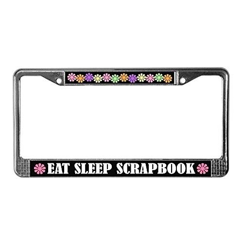 CafePress Eat Sleep Scrapbook License Plate Frame Chrome License Plate Frame, License Tag Holder ()