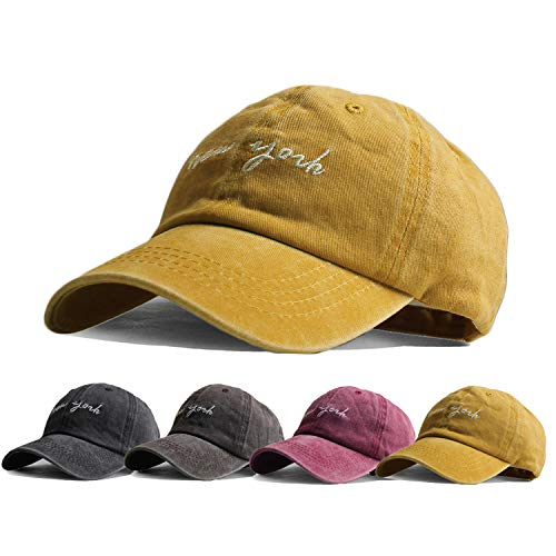 (HH HOFNEN Kid's Washed Twill Cotton Baseball Cap Vintage Adjustable for 2-8yrs (#2 Kid Yellow (for 2-8yrs)))