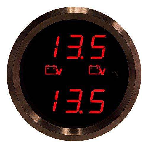 Black Dual Gauge (VEI Systems Dual-Display gauge: Dual 27.5V P.O.L. Voltmeter (red/black))