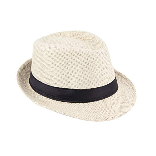 uqiangbao Summer Neutral Style Unisex Casual Hemp Cotton Panama Hats Caps Jazz Hat Fedora Cap Fit with Any Summer Trappings